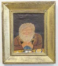 PORTRAIT OF A MAN PRAYING BY OUTSIDER ARTIST; OIL ON CANVAS MEASURES 12 IN X 16 IN; UNSIGNED