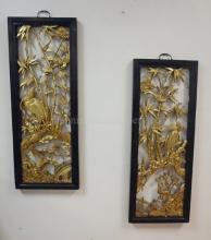 PAIR OF CARVED GILTWOOD ORIENTAL PANELS W/BIRDS ON BAMBOO SHOOTS; BOTH HAVE SOME BRANCHES MISSING; EACH PANEL IS 16 IN X 42 IN
