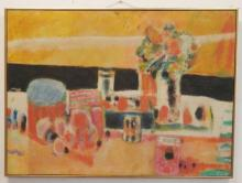 GERARD DIAZ (GERARDIAZ); OIL ON CANVAS, SEMI-ABSTRACT; 29 IN X 38 1/2 IN; SIGNED LOWER RIGHT & VERSO