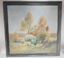 LAMONT WARNER (1876-1970); FRAMED OIL ON CANVAS LANDSCAPE; 1942; 36 IN X 36 IN; SIGNED & DATED LOWER RIGHT