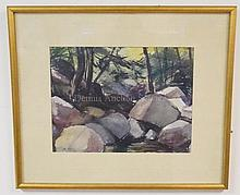 SAMUEL THAL (1903-1961); WATERCOLOR LANDSCAPE W/EVERGREENS & BOULDERS; 11 IN X 14 1/2 IN; DATED 1935, SIGNED LOWER RIGHT