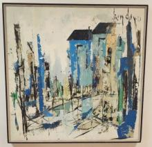 LARGE ABSTRACT SIGNED *HENDAY*; 46 1/2 IN X 46 3/4 IN