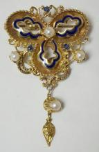 EXCEPTIONAL 18K GOLD ENAMEL BROOCH WITH PEARLS AND SAPHIRES ACCOMPANIED WITH A CENTER DANGLE. 1 5/8 IN WIDE, 2 5/8 IN LONG