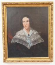 FRAMED O/C PORTRAIT OF A WOMAN W/LACE COLLAR; RELINED; 24 1/2 IN X 29 1/2 IN