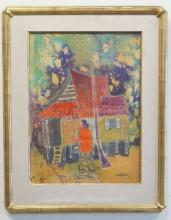 ASIAN MODERNIST PAINTING; INK ON SILK; SIGND INDISTINCTLY LOWER RIGHT AND DATED 1983; WOMAN BY A HOUSE; 14 IN X 19 IN