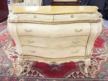 FRENCH CHEST OF DRAWERS PAINT DECORATED AND CARVED SKIRT & LEGS. 51 IN WIDE, 20 1/2 IN DEEP & 32 IN HIGH.