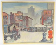 FRAMED OIL ON MASONITE- CITY STREET SCENE. UNSIGNED. 24 IN X 20 IN