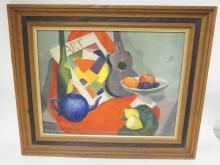FRAMED OIL ON ARTIST BOARD STILL LIFE W/ GUITAR AND TEA POT. SIGNED EVELYN '55. 18 IN X 14 IN