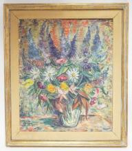 FRAMED O/C FLORAL STILL LIFE. ARTIST SIGNED LOWER LEFT. 21 1/4 IN X 25 1/2 IN