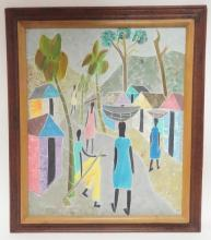 FRAMED OIL ON MASONITE BY J. CAMEAU- ISLAND VILLAGE W/ WOMEN CARRYING BASKETS ON THEIR HEADS. 20 IN X 24 IN