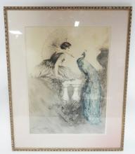 FRAMED PRINT OF A LADY AND PEACOCK SIGNED HARDY. 15 IN X 20 1/2 IN DAMAGE SPOT TOP CENTER
