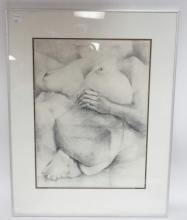 FRAMED DRAWING (?) OF A NUDE. 14 1/4 IN X 19 1/4