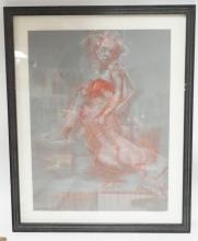 FRAMED ARTIST SIGNED DRAWING OF 2 NUDES EMBRACING. 17 3/4 IN X 23 1/2 IN