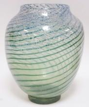 CONTEMPORARY ART GLASS VASE W/ GREEN SWIRLS. BRUISE ON THE SHOULDER. 12 IN H