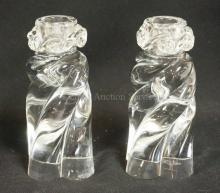 PAIR OF BACCARAT CRYSTAL CANDLESTICKS IN A TWIST FORM. 6 IN HIGH.