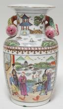 HAND PAINTED ORIENTAL VASE W/ PEOPLE. FRUIT HANDLES. 12 1/2 IN H
