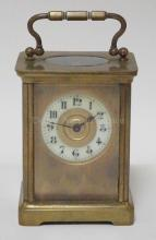 FRENCH CARRIAGE CLOCK. 4 1/8 IN H EXCLUDING HANDLE.