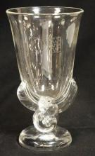 STEUBEN CRYSTAL VASE W/ APPIED FOOT AND DECORATIVE STEM. HAS AN ETCHED LOGO. 8 1/4 IN H