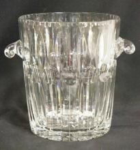 CUT CRYSTAL ICE BUCKET W/ APPLIED HANDLES. 9 IN H, 7 5/8 IN TOP DIA
