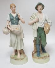 PAIR OF LARGE ROYAL DUX FIGURES- MAN AND WOMAN. BOTH ARE REPAIRED. 20 1/2 IN H