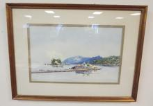 FRAMED WATERCOLOR- MEDITERRANIAN SCENE. ARTIAT SIGNED. 15 3/4 IN X 9 3/4 IN