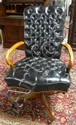 LEATHERCRAFT BLACK LEATHER SWIVEL DESK CHAIR