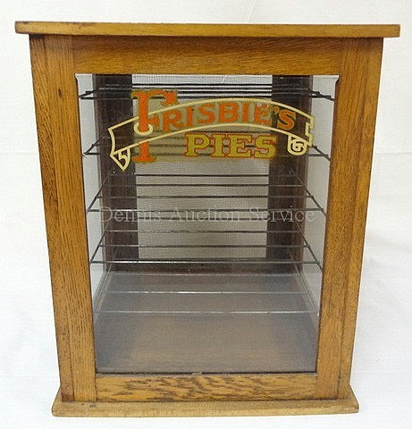 OAK & GLASS PIE CASE, *FRISBIE'S PIES*; 13 1/2 IN