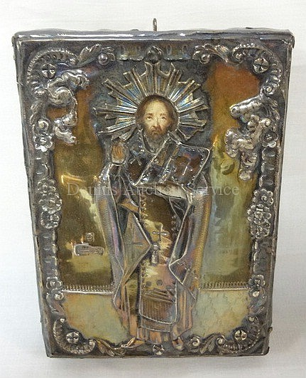 RUSSIAN SILVER OVER WOOD ICON; MARKED BA, 1856, 84