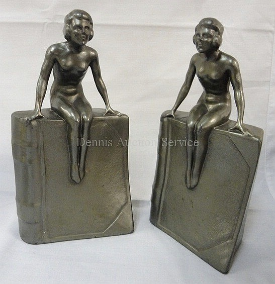 PR OF ART DECO BOOKENDS; NUDE SITTING ON A BOOK;