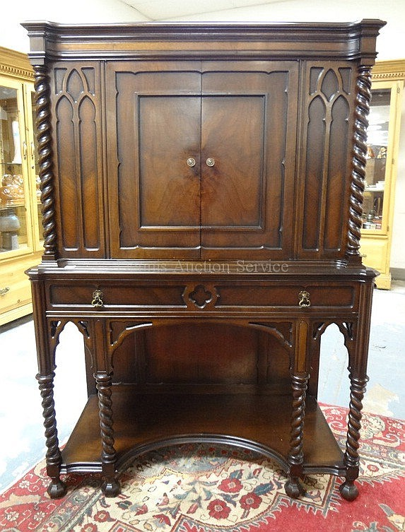 WALNUT DESK/CHINA CABINET W/TWIST COLUMNS & LEGS;