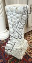 SHELL ART CONCRETE PEDESTAL; 26 1/2 IN H