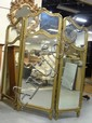 3 PART MIRRORED FOLDING SCREEN W/GLASS TOP PANELS; CARVED GILT FRAME