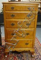 TIGER MAPLE BALL & CLAW FOOT CHEST W/5 GRADUATED DRAWERS