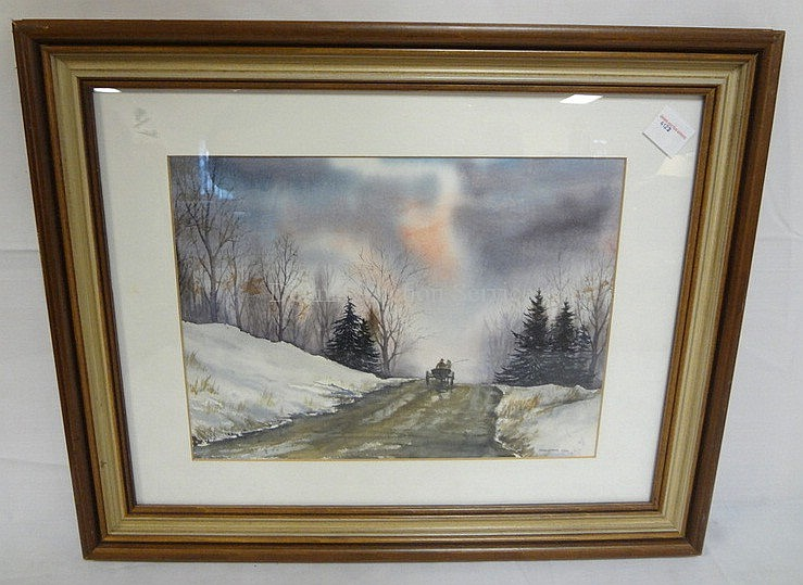 FRAMED WATERCOLOR BY BARBARA COX; WINTER SCENE W/HORSE & BUGGY ON A ROAD AT SUNSET; 13 1/4 IN X 9 3/4 IN