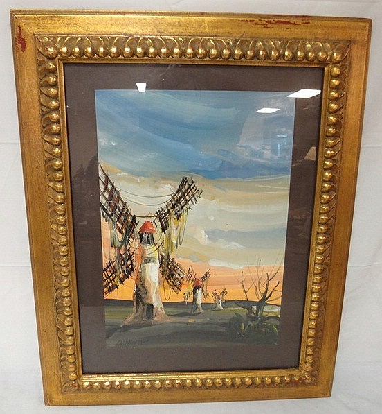 FRAMED PAINTING BY CARLOS DERRIVER; ARTISTS BIO ON REVERSE; 13 1/2 IN X 19 1/2 IN; WINDMILLS