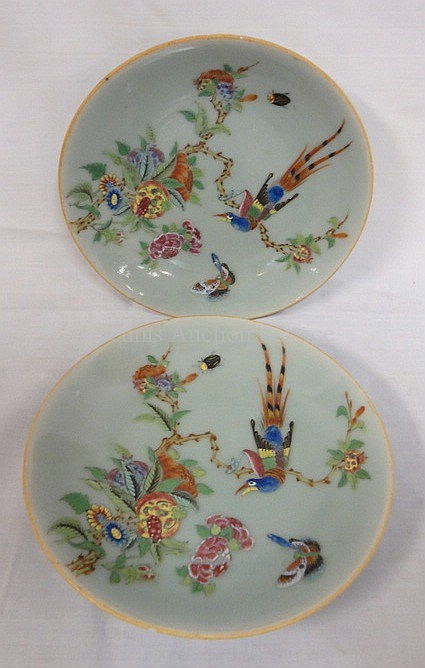 PR OF CHARACTER SIGNED HAND PAINTED CELEDON PLATES; 7 5/8 IN