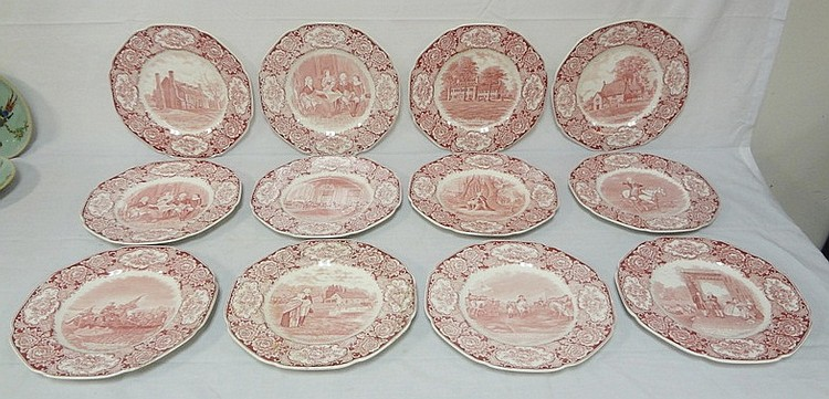 SET OF 12 CROWN DUCAL RED TRANSFER GEORGE WASHINGTON BICENTENARY PLATES, 1932; ONE IS A DUPLICATE; 10 1/2 IN