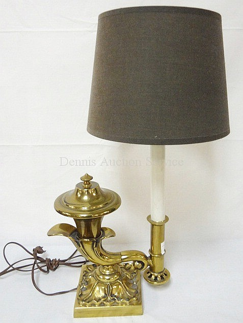 BRASS CORNUCOPIA TABLE LAMP; 21 IN H