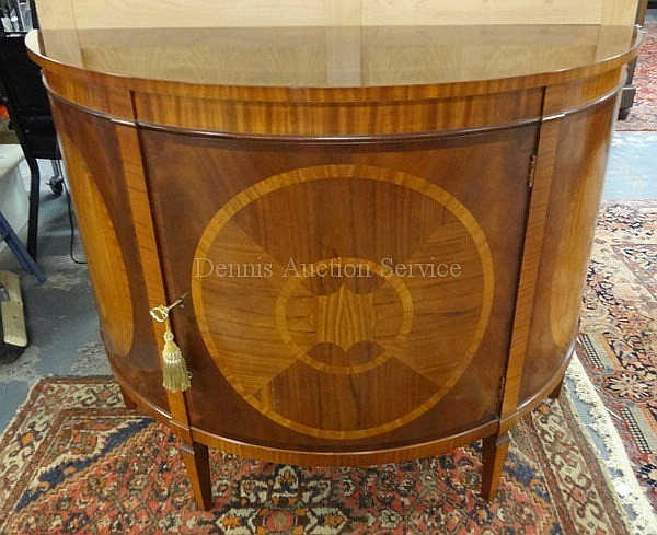BAKER *HISTORIC CHARLESTON* BANDED & INLAID DEMILUNE ONE DOOR CREDENZA