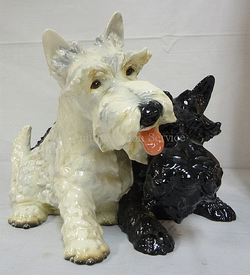 GOEBEL LARGE DOUBLE SCOTTY DOG FIGURE GROUP; BLACK & WHITE; 16 IN L, 10 IN H