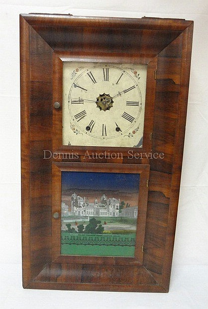 WATERBURY OG CLOCK W/REVERSE PTD DOOR; SOME PAINT LOSS;' *THE NEW WELLINGTON COLLEGE, SANDHURST ENGLAND*; 16 1/2 IN W, 29 IN H