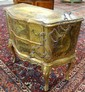 SCENIC PAINT DECORATED 2 DRW COMMODE; ONE LEG REPAIRED; 31 IN W, 28 1/4 IN H