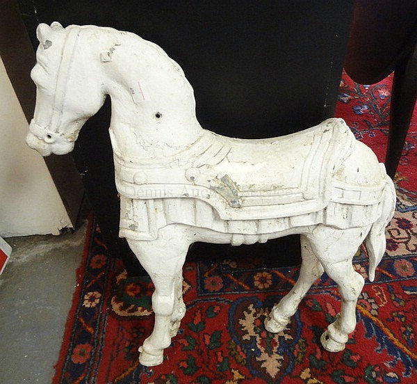 METAL HORSE, PTD WHITE; 24 IN L, 26 3/4 IN H
