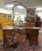 CARVED MAHOGANY 5 DRW VANITY W/MIRROR & MATCHING CHAIR; CHAIR HAS A CHIP ON THE CREST