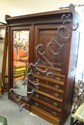 CARVED WALNUT VICTORIAN WARDROBE W/MIRROR DOOR, 5 DRAWERS & HALF DOOR W/INTERIOR SHELF