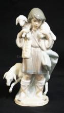 LLADRO PORCELAIN *SHEPHERD BOY* CHRISTMAS NATIVITY FIGURE. #5485. NO BOX. 8 1/4 INCHES HIGH.
