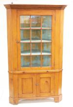 ANTIQUE 12 LIGHT PINE CORNER CUPBOARD. 2 PIECE. 49 INCHES WIDE. 89 3/4 INCHES HIGH.