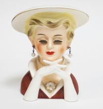 VINTAGE RUBENS ELEGANT LADY HEAD VASE IN RED. #495. 5 1/2 INCHES HIGH.