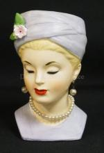 VINTAGE NAPCO GRACE KELLY HEAD VASE. #4899 AND DATED 1960. 5 3/4 INCHES HIGH.
