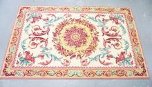 FLORAL HOOKED WOOL RUG. 8 X 5 FT.